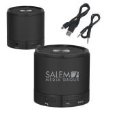 Wireless HD Bluetooth Black Round Speaker-Media Group  Engraved