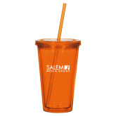 Madison Double Wall Orange Tumbler w/Straw 16oz-Media Group