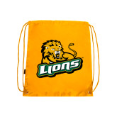 Gold Drawstring Backpack-Lions w/Lion