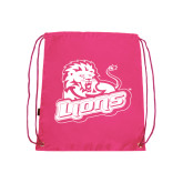 Pink Drawstring Backpack-Lions w/Lion