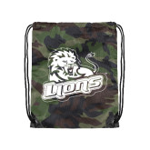 Camo Drawstring Backpack-Lions w/Lion
