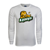 White Long Sleeve T Shirt-Lions w/Lion