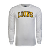 White Long Sleeve T Shirt-Arched Lions