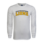 White Long Sleeve T Shirt-Arched Southeastern Lions