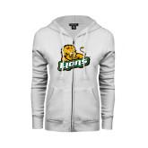 ENZA Ladies White Fleece Full Zip Hoodie-Lions w/Lion