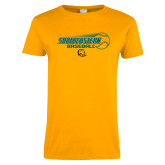 Ladies Gold T Shirt-Southeastern Baseball w/ Ball