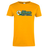 Ladies Gold T Shirt-Lions Softball Script w/ Ball