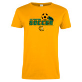 Ladies Gold T Shirt-Southeastern Soccer Swoosh w/ Ball