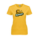 Ladies Gold T Shirt-Lions w/Lion
