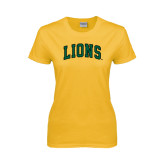 Ladies Gold T Shirt-Arched Lions