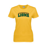 Ladies Gold T Shirt-Arched Southeastern Lions