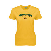 Ladies Gold T Shirt-Arched Southeastern Louisiana