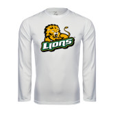Performance White Longsleeve Shirt-Lions w/Lion