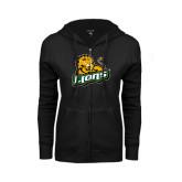 ENZA Ladies Black Fleece Full Zip Hoodie-Lions w/Lion