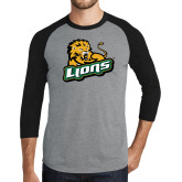 Grey/Black Tri Blend Baseball Raglan-Lions w/Lion