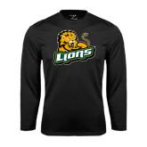 Performance Black Longsleeve Shirt-Lions w/Lion