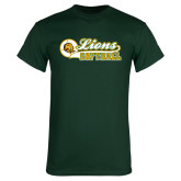 Dark Green T Shirt-Lions Softball Script w/ Ball