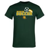 Dark Green T Shirt-Southeastern Soccer Swoosh w/ Ball