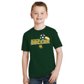 Youth Dark Green T Shirt-Southeastern Soccer Swoosh w/ Ball