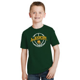Youth Dark Green T Shirt-Lions Basketball w/ Ball