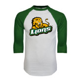 White/Dark Green Raglan Baseball T-Shirt-Lions w/Lion