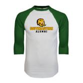 White/Dark Green Raglan Baseball T-Shirt-Alumni
