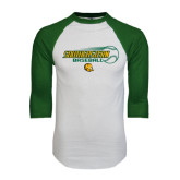White/Dark Green Raglan Baseball T-Shirt-Southeastern Baseball w/ Ball