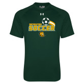 Under Armour Dark Green Tech Tee-Southeastern Soccer Swoosh w/ Ball