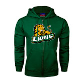 Dark Green Fleece Full Zip Hoodie-Lions w/Lion