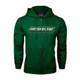 Dark Green Fleece Full Zip Hoodie-Southeastern