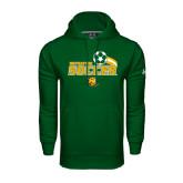 Under Armour Dark Green Performance Sweats Team Hoodie-Southeastern Soccer Swoosh w/ Ball
