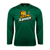 Performance Dark Green Longsleeve Shirt-Lions w/Lion