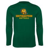 Performance Dark Green Longsleeve Shirt-Softball