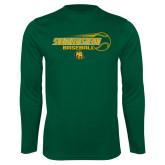 Performance Dark Green Longsleeve Shirt-Southeastern Baseball w/ Ball