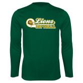 Performance Dark Green Longsleeve Shirt-Lions Softball Script w/ Ball