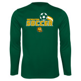 Syntrel Performance Dark Green Longsleeve Shirt-Southeastern Soccer Swoosh w/ Ball
