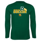 Performance Dark Green Longsleeve Shirt-Southeastern Soccer Swoosh w/ Ball