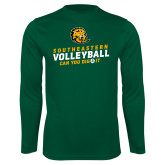 Performance Dark Green Longsleeve Shirt-Volleyball Can You Dig It