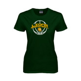 Ladies Dark Green T Shirt-Lions Basketball w/ Ball