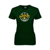 Ladies Dark Green T Shirt-Lions Basketball w/ Ball