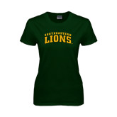 Ladies Dark Green T Shirt-Arched Southeastern Lions