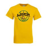 Gold T Shirt-Lions Basketball w/ Ball