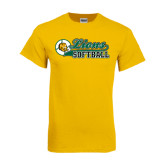 Gold T Shirt-Lions Softball Script w/ Ball
