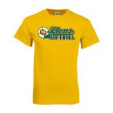 Gold T Shirt-Lions Softball Script w/ Ball