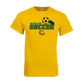 Gold T Shirt-Southeastern Soccer Swoosh w/ Ball