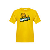 Youth Gold T Shirt-Lions w/Lion
