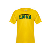 Youth Gold T Shirt-Arched Southeastern Lions