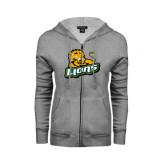 Ladies Grey Fleece Full Zip Hoodie-Lions w/Lion