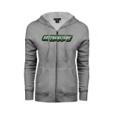 Ladies Grey Fleece Full Zip Hoodie-Southeastern
