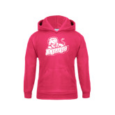Youth Raspberry Fleece Hoodie-Lions w/Lion